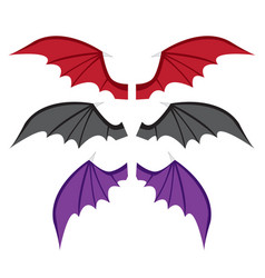 Set bat wings in color in flat style vector