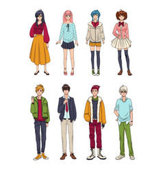 set of cute anime characters cartoon girls and vector image