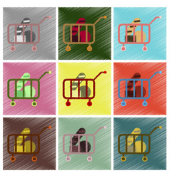 set of flat icons in shading style shop cart with vector image