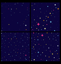 set of night sky backround with bright stars vector image
