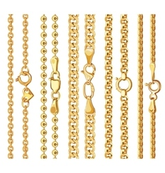 Set of realistic golden chains with clasp vector
