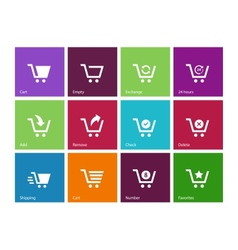 Shopping cart icons on color background vector