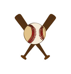 silhouette color with baseball bats and ball vector image
