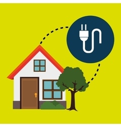 smart home with electric plug isolated icon vector image