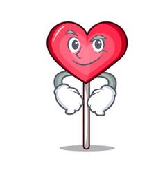 Smirking heart lollipop character cartoon vector