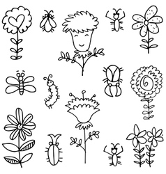 Spring item doodles vector