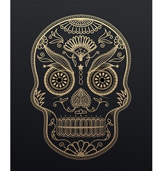 Sugar Skull day of the dead Mexican style golden vector