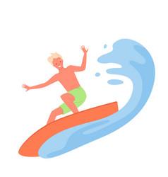 surfing man summer extreme sport activity surfer vector image