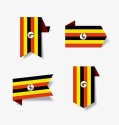 ugandan flag stickers and labels vector image