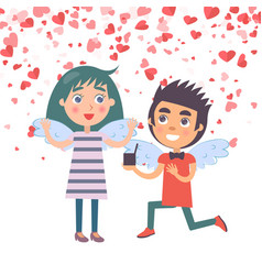 Valentine boy proposal marriage to woman vector