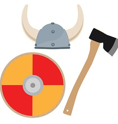 Viking hat shield and axe vector image