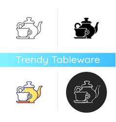 Vintage style tableware icon vector