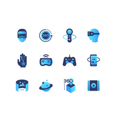 virtual reality - set of flat design style icons vector image