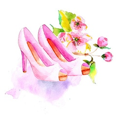 Watercolor flower and shoes vector