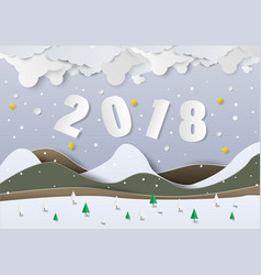 Winter season with merry christmas and happy new vector