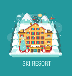 Winter ski resort flat landscape vector