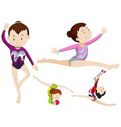 Women athletes doing gymnastics with objects vector image