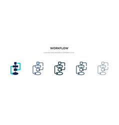 Workflow icon in different style two colored and vector