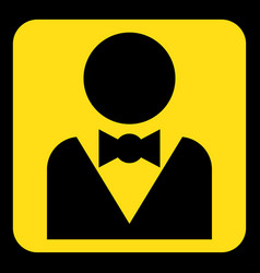 Yellow black sign - figure with suit and bow tie vector