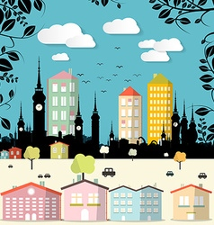 Abstract Paper Cut Flat Design City vector image