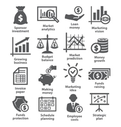 Business economic icons vector image vector image