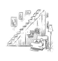 comfortable armchair interior design vector image