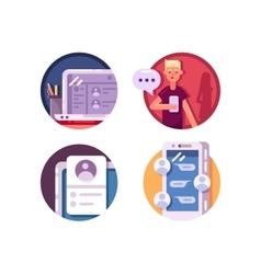 Communication internet icons vector image
