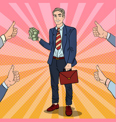 pop art successful businessman with stack of money vector image vector image