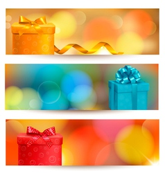 Retro holiday background with blue gift ribbon vector image vector image