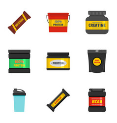 sport supplement icons set flat style vector image vector image