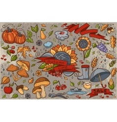Big set of colored hand-drawn doodles on autumn vector image vector image