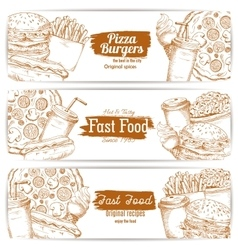 Fast food dishes with drinks and dessert banner vector image