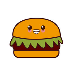 hamburger fast food kawaii cute cartoon vector image vector image
