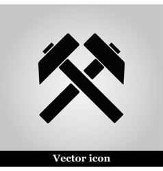 Two crossed hammers flat icon labor symbol vector