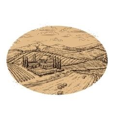 Vineyard landscape Retro label Hand drawn vector image