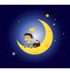 A boy and his pet at the moon vector image vector image