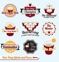 Beer Pong Labels vector image vector image