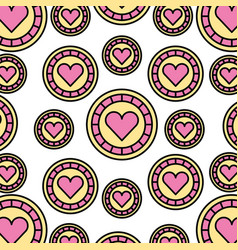 casino chips with heart pattern background vector image