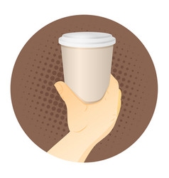 Paper coffee cup in hand vector
