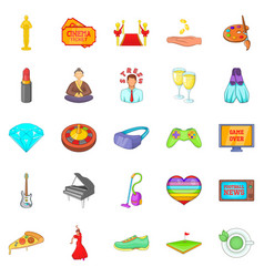 weekend icons set cartoon style vector image