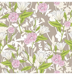 background with lilly flowers and roses vector image