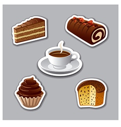 cake stickers vector image vector image