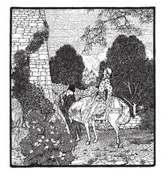 geraint hears enid singing vintage vector image vector image