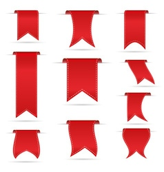 red hanging curved ribbon banners set eps10 vector image vector image