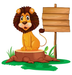 A lion sitting on a stump beside a wooden vector