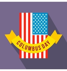 American flag with Columbus Day ribbon flat icon vector image vector image