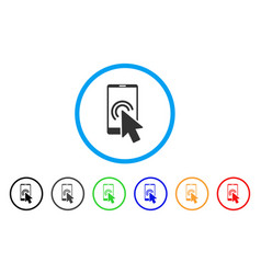 Arrow double click smartphone rounded icon vector