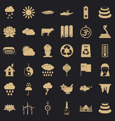 Asiatic icons set simple style vector