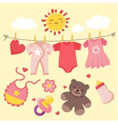 Baby girl doodle cartoons vector