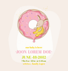 Baby shower or arrival card - baby girl kangaroo vector